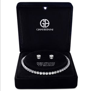 Jewelry - Cubic Zirconia Sterling Silver Bracelet & Earrings
